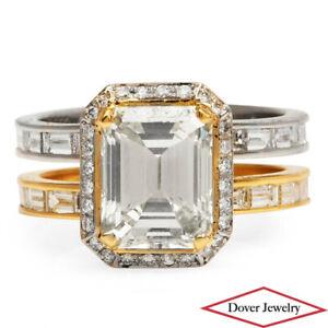 Estate 3.93ct Diamond Platinum  Gold Engagement Wedding Ring 6.8 Grams NR