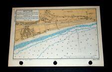 Rare vintage WW2 Naval Map of HYTHE, Kent, 1943