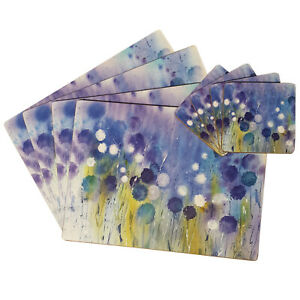 Set of 4 Cork Placemats & Coasters Abstract Floral Watercolour Table Place Mats