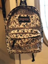 Jansport Backpack Girls Tan Flowers EUC
