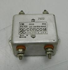 Corcom AC EMI Filter, Type 20K6, 20A, 115/250V, 50-60Hz, Used, WARRANTY