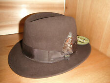 New Mens SCALA sicily Rabbit Fur Felt fedora Hat BROWN Furfelt size SMALL