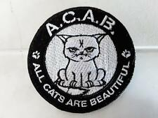 ACAB ALL CATS ARE BEAUTIFUL IRON ON EMBROIDERED PATCH  COLLECTORS VEST