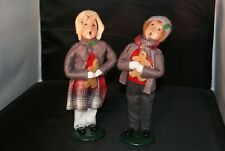 Signed 1996 Pair Byers Choice Carolers Boy and Girl Holding Gingerbread Cookie