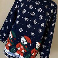 Vintage Nutcracker Navy Snow Bears Ugly Christmas Sweater, Size Medium