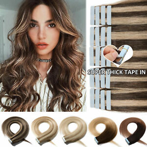 80PCS 200G Super Thick Tape In Rmey Human Hair Extensions Skin Weft Full Head US