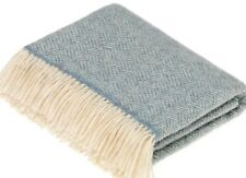 Bronte By Moon DUCK EGG BLUE PARQUET Pure New Wool Throw Blanket Rug  BRITISH