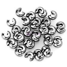 200Pcs Silver/Golden/Bronze Copper Crimp End Beads Covers 3mm/4mm/5mm