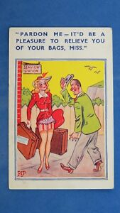 Comic Postcard 1940s Knickers Red Garter Belt Nylons Stockings RAILWAY STATION