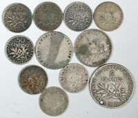 Lot of (11) France Coins, 2 Franc, 1 Franc, 50 Centimes - World Silver