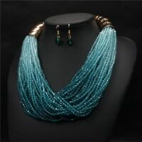 Resin Jewlery Beads Weave Earrings Jewelry Set Necklaces Necklace+Earring