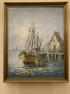 VINTAGE Antique OIL PAINTING On Canvas of Ship signed Florence Original