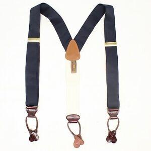 Trafalgar Mens Braces Suspenders Solid Navy Blue Woven Nylon Leather Button