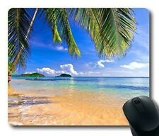 Gaming Mouse Pad Shore Palms Tropical Beach Oblong Shaped Mouse Mat Design Natur