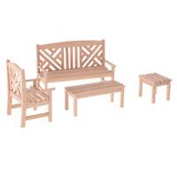 4pcs Wooden Garden Furniture Set 1:12 Doll House Miniature Accessory New