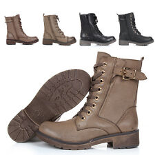 NEW WOMENS COMBAT ARMY MILITARY BIKER FLAT LACE UP WORKER ANKLE BOOTS SIZE