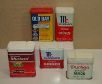 Vintage Lot of 5 Metal SPICE TINS McCormick Durkee Old Bay * Mace Ginger Mustard