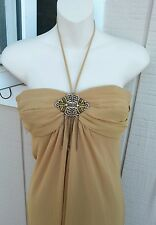 NWT ABS EVENING SZ 2 Full Length Gold Halter Style Formal Dress w/Jewel Detail