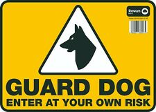 "GUARD DOG ENTER AT YOUR OWN RISK Large Sign Dog House Security Warning 9.5""x13"""