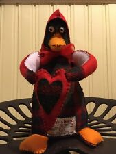 "Lovely ""Harris Tweed Percy Penguin"" Hand Stitched Felt -holding A Heart!Present!"