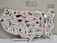 U.S.A. Map Cheeseboard with Knife Set by Magenta Ceramic Summer NEW RARE 2019