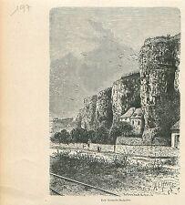 Rochers des Grands-Malades Meuse Namur et Beez GRAVURE ANTIQUE OLD PRINT 1880