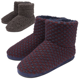 DUNLOP - Mens Indoor Memory Foam Soft Fluffy Sherpa House Slipper Boot Booties