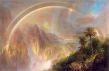 Oil painting Rainy Season in the Tropics nice landscape with rainbow mountains