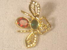 New ListingDesigner Signed Dolphin Ore Bee Pin Brooch With Swarovski Crystals #963Up