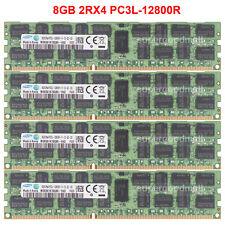 For Samsung 32GB 4X8GB 2RX4 PC3L-12800R DDR3L-1600MHz ECC Reg-DIMM Server Memory