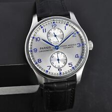 Parnis 43mm Power Reserve Silver Dial Blue Number Men Automatic Watch