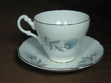 Royal Ascot Bone China Art Deco Cup and Saucer Blue Flowers Gold Trim and Stamp