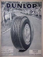 PUBLICITÉ DE PRESSE 1953 PNEUS DUNLOP D5 - DELARUE NOUVELLIERE - ADVERTISING