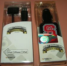 Tribeca Twin USB car charger iPhone 4/iPad, w Charge & Sync cable, NC State logo