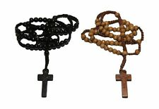 2pc Tan & Black Colored Wooden Beads Rosary Necklaces with Jesus Imprint Cross