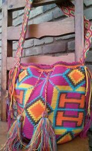 Handmade bohemian Wayuu tribe bag  with tassel details, geometric art