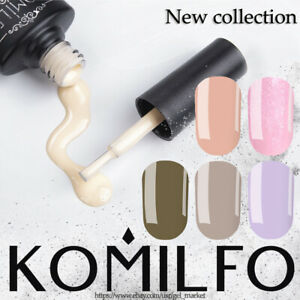 KOMILFO - Gel NAIL POLISH, 8ml. Color: White, Nud, Beige, Black, Pink, Glitter..