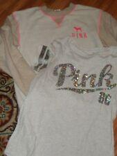 VS Victoria's secret PINK ~ small ~ crew sweatshirt & bling top t-shirt