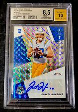 JUSTIN HERBERT 2020 Mosaic Rookie Silver Prizm Auto BGS 8.5 w/ 10 Auto CHARGERS