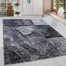 Moderner Kurzflor Teppich Patschwork Stein Muster Wohnzim. Grau Turkis Meliert