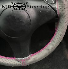 FOR VOLVO P122 S GREY PERFORATED LEATHER STEERING WHEEL COVER HOT PINK DOUBLE ST
