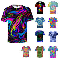 Unisex Colorful Tie-Dye Hypnosis Funny 3D Print Casual Short T-Shirt sport Tops