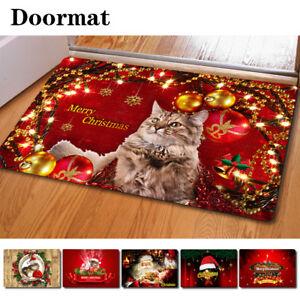 Christmas Cat Doormat Floor Rug Anti-slip Indoor Porch Welcome Bath Mat Decor