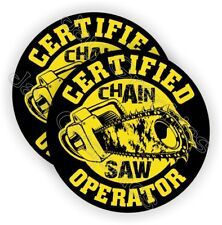 Pair - CHAIN SAW Operator Hard Hat Stickers  Funny Helmet Decals Chainsaw Blade