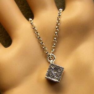 SILVER second hand dice pendant & chain