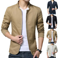 Men's Jacket Slim Thin Fit Collar Coat Fashion Casual Outwear Jacket Plus Winter