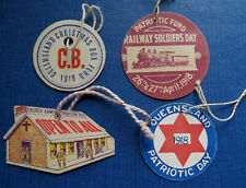 4 Wwi Australia Patriotic Fund Tags - Queensland - Railway Soldiers Day. 1918