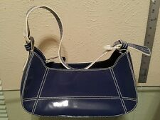 NICOLI Blue Patent Leather Hobo Tote Shoulder Bag Purse White Accent Stitching