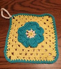 Colorful Flower Granny Square Cotton Hand Crocheted Hot Pad Dish Wash Cloth