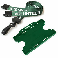 Green Volunteer Neck Lanyard & Green Double Sided ID Card Holder FREE POST lot